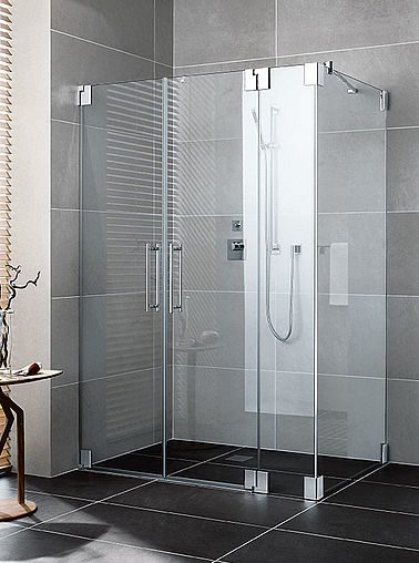 Kermi shower enclosure - Pasa - Two part hinged doors with fixed panel and side panel