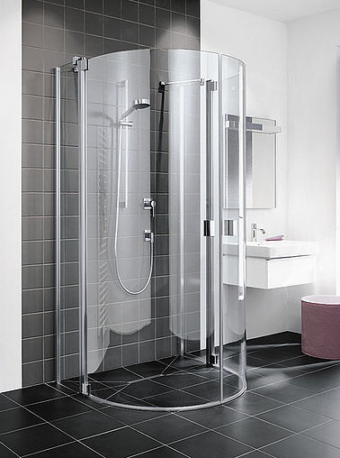 Kermi shower enclosure Raya - Semi-circle - Two part hinged door with fixed panels