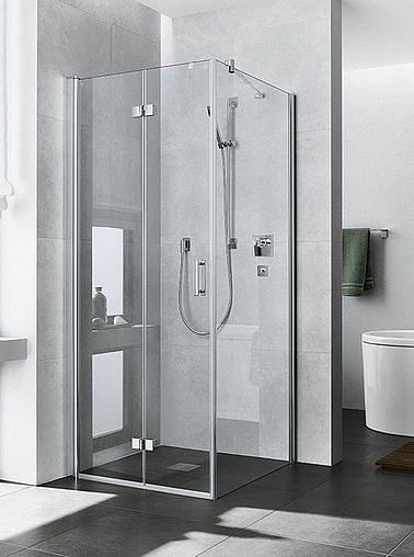 Kermi shower enclosures - Diga - Two part hinged door with folding mechanism and side panel