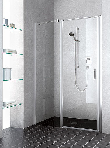 Kermi shower enclosure - Liga - Two part hinged door with fixed panel in recess