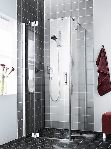 Kermi shower enclosure - Filia XP - Two part hinged door with fixed panel and side panel