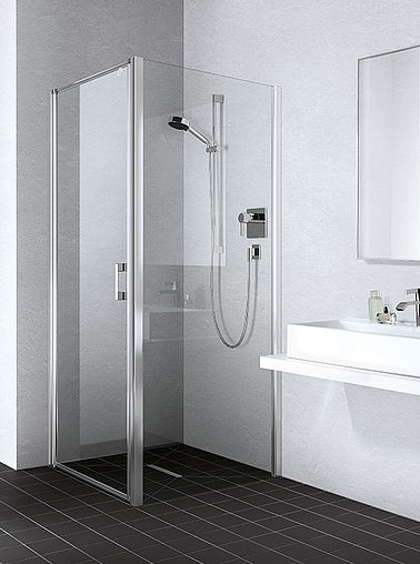 Kermi shower enclosure - Liga - Two part hinged door with side panel