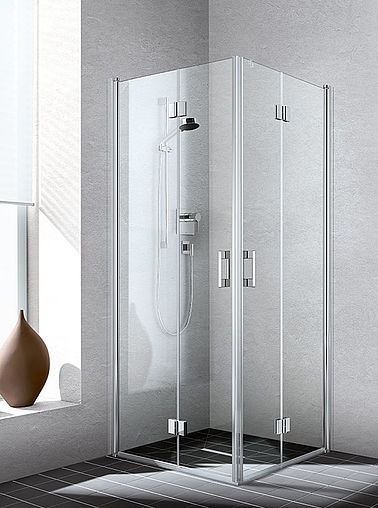 Kermi shower enclosure - Liga - Corner entry with two part hinged door with folding mechanism and two part hinged door with fixed panel