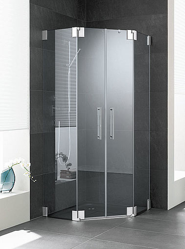 Kermi shower enclosure - Pasa - Pentagon shower enclosure with two part hinged doors and fixed panels