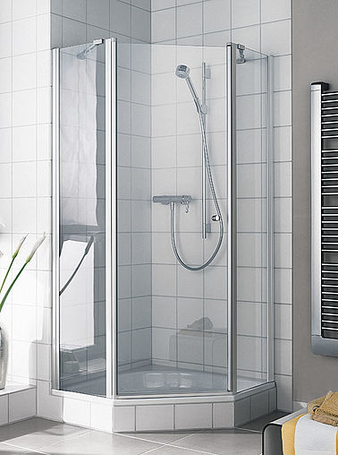 Kermi shower enclosure - Ibiza 2000 - Pentagon shower enclosure with two part hinged door