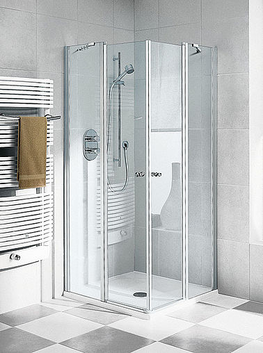 Kermi shower enclosure - Ibiza 2000 - Corner entry with two part hinged doors and fixed panels