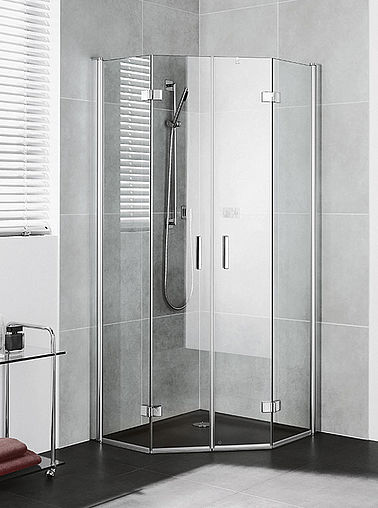 Kermi shower enclosures - Diga - Pentagon shower enclosure with two part hinged doors