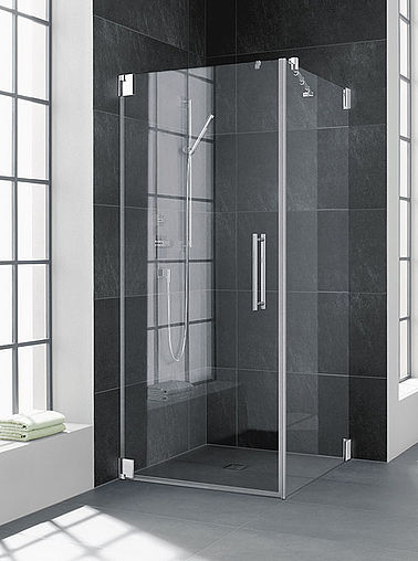 Kermi shower enclosure - Pasa - Two part hinged door with side panel