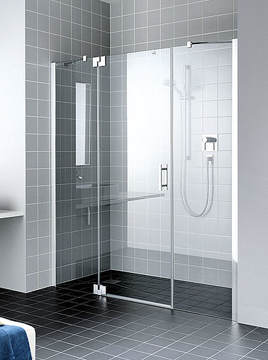 Kermi shower enclosure - Filia XP - Two part hinged door with fixed panels in recess