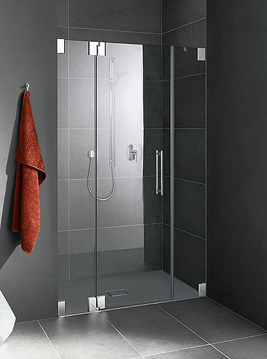 Kermi shower enclosure - Pasa - Two part hinged door with fixed panels in recess