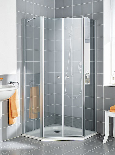Kermi shower enclosure - Ibiza 2000 - Pentagon shower enclosure with two part hinged doors