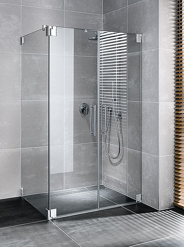 Kermi shower enclosure - Pasa - Two part hinged doors with side panel