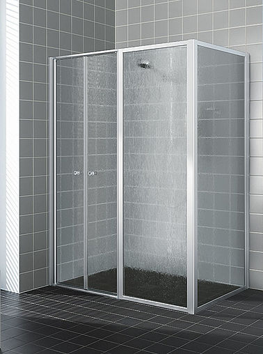 Kermi shower enclosure - Nova 2000 - Two part hinged doors with fixed panel and side panel