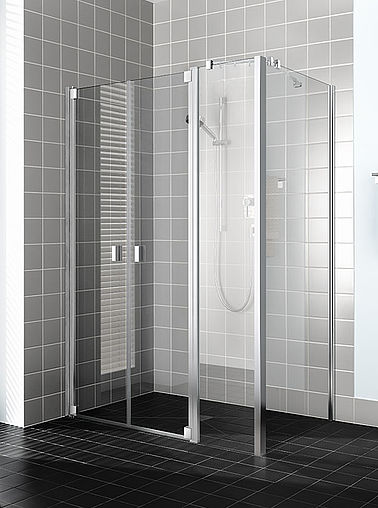 Kermi shower enclosure Raya - Two part hinged door with fixed panels