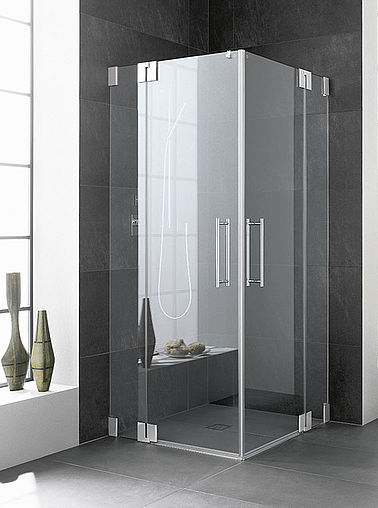 Kermi shower enclosure - Pasa - Two part hinged doors with fixed panels