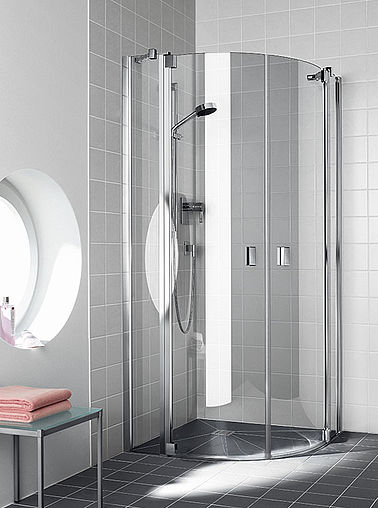 Kermi shower enclosure Rama - Semi-circle - Two part hinged doors with fixed panels