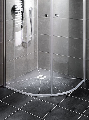 Kermi quadrant shower enclosure on Point wet floor system