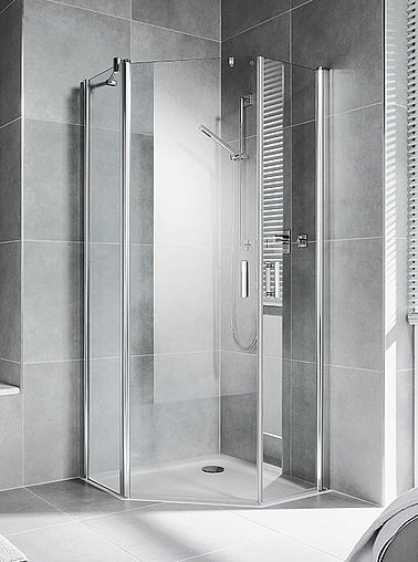 Kermi shower enclosures - Diga - Pentagon shower enclosure with two part hinged door