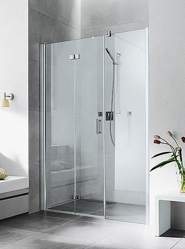Kermi shower enclosure - Diga - Two part hinged door with folding mechanism and fixed panel