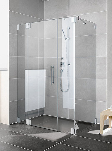Kermi shower enclosure - Pasa - Two part hinged door with fixed panels and side panel