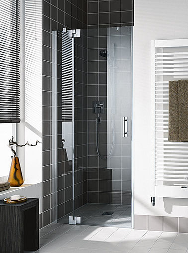 Kermi shower enclosure - Filia XP - Two part hinged door with fixed panel in recess