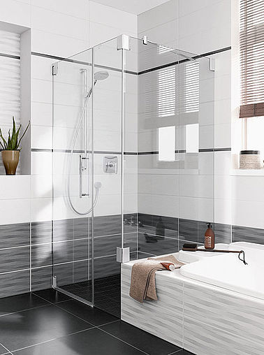Kermi shower enclosure - Pasa - on bathtub
