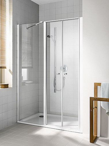 Kermi shower enclosure - Ibiza 2000 - Two part hinged doors with fixed panel