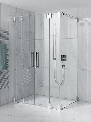 Kermi shower enclosure - Pasa - Two part hinged doors with fixed panels and side panel