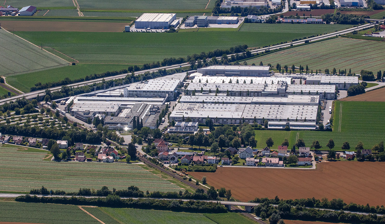 Aerial view of Kermi headquarters in Plattling