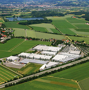 Aerial view of Kermi headquarters and production facility in Plattling (2010)