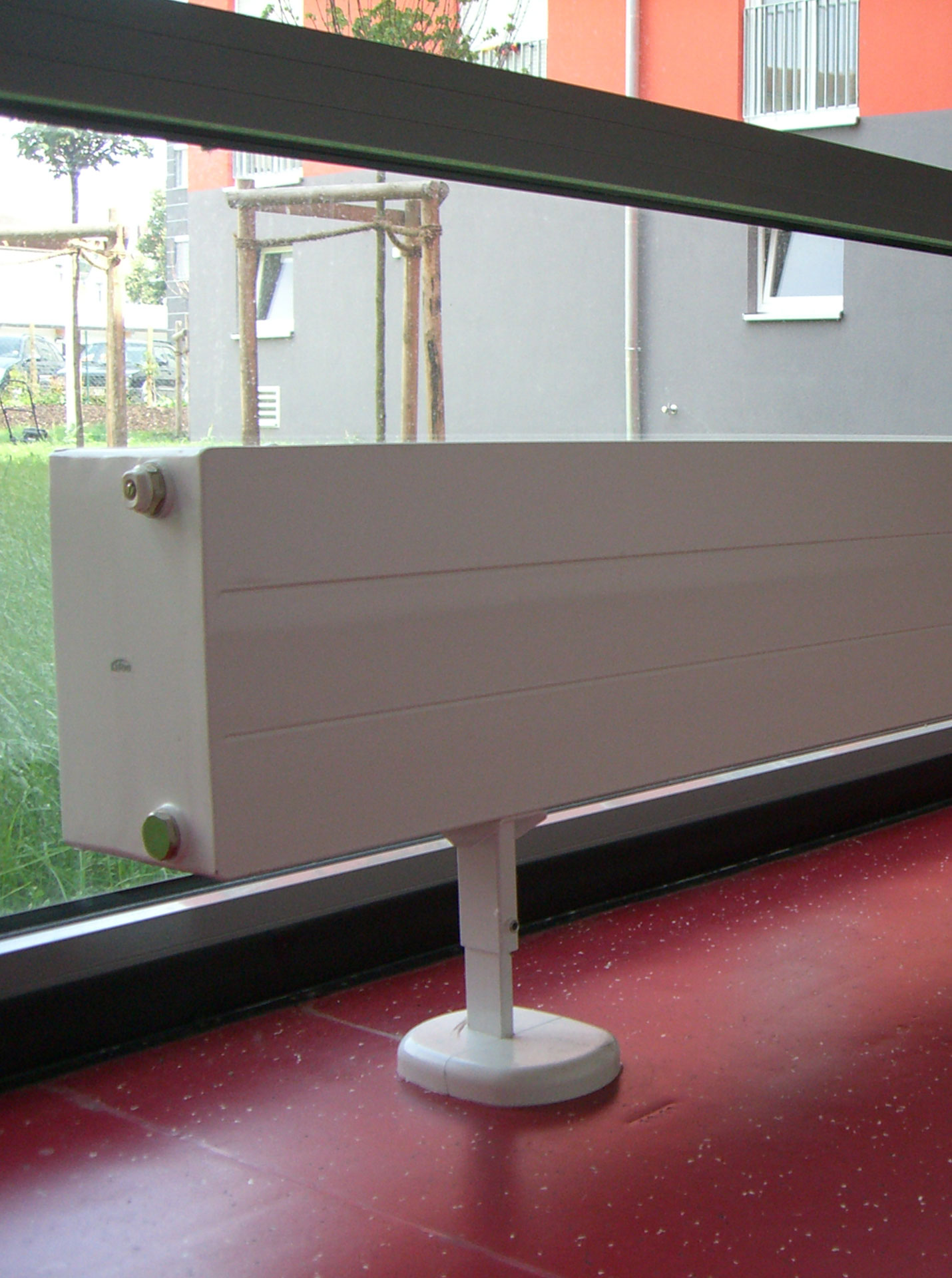 Detailed view of radiator at Deggendorf student campus, Kermi references