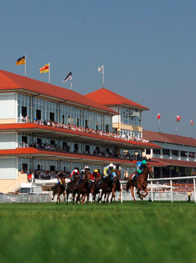 Exterior view of racecourse at Iffezheim, Kermi references (source: Internationaler Club e.V.)