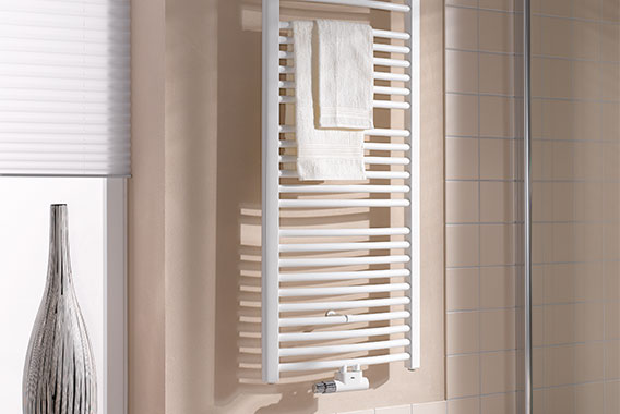 Kermi Basic-50 R design and bathroom radiator with gentle curve