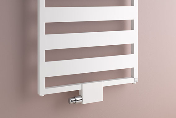 Detailed view of Kermi Casteo design and bathroom radiator - clear lines, geometric forms