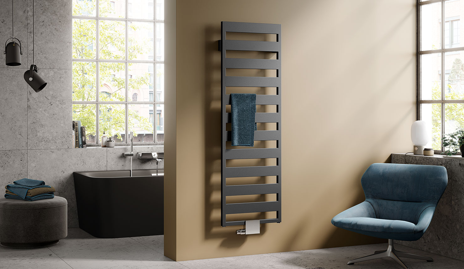 Kermi Casteo design and bathroom radiator in matt bronze finish in modern bathroom