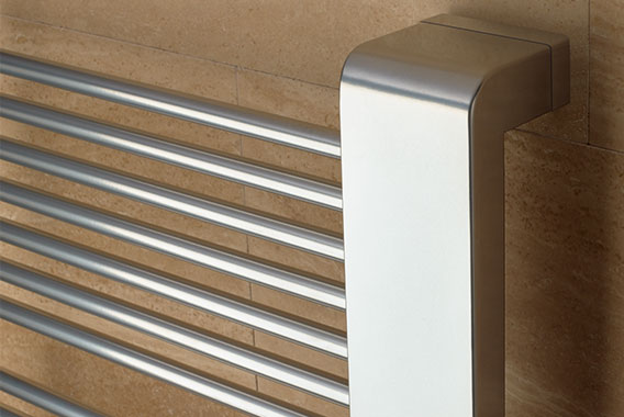 Detailed view at top of Kermi Credo-Uno design and bathroom radiator