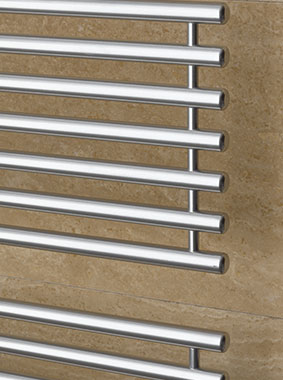 Detailed view of Kermi Credo-Half design and bathroom radiator with transverse pipes open at sides