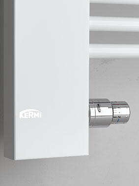 Detailed view of connection technology & integrated thermostatic sensor head of Kermi Credo-Half design and bathroom radiator
