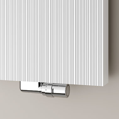 Kermi design radiator Decor-Arte Line centre connection detail