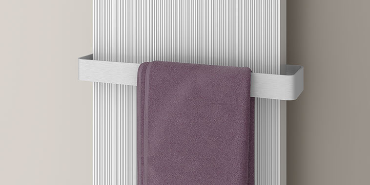 Kermi design radiator Decor-Arte Line with aluminium towel rail accessory