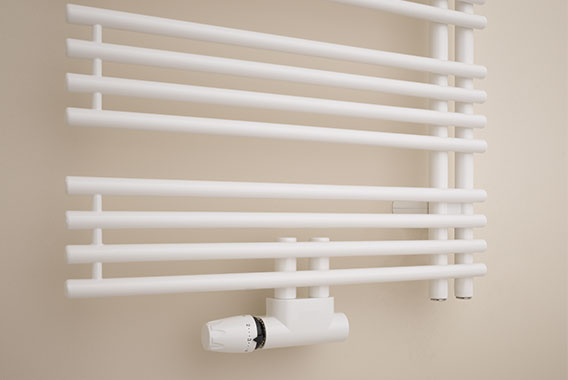 Detailed view of 50mm centre connection for Kermi Diveo design and bathroom radiator