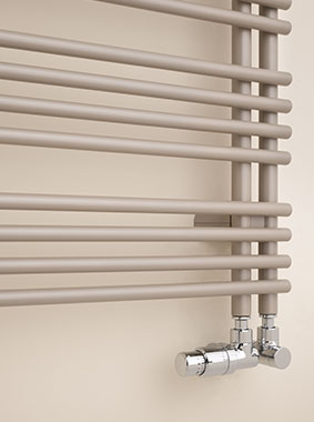 Detailed view of lateral connection for Kermi Diveo design and bathroom radiator