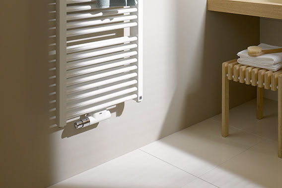 Detailed view of Kermi Duett design and bathroom radiator, lateral or centre connection