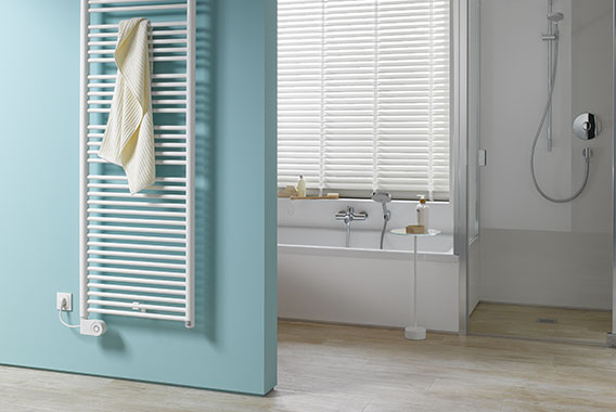 Kermi Geneo circle-E design and bathroom radiator for all-electric operation with FKS electrical set