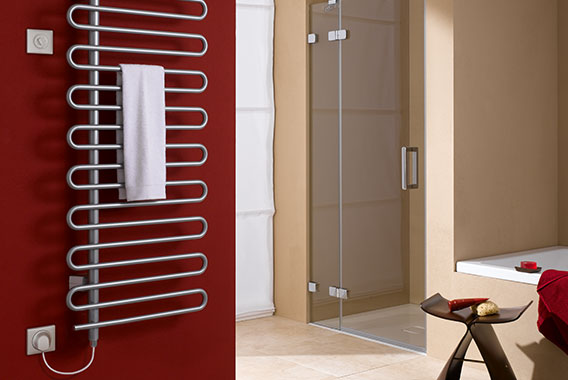 Kermi Icaro-E design and bathroom radiator for all-electric operation with WKS electrical set