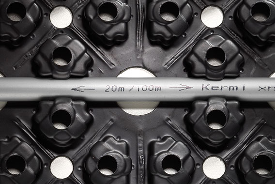 Kermi x-net C15: pipe inscription indicates remaining length and pipe length already used