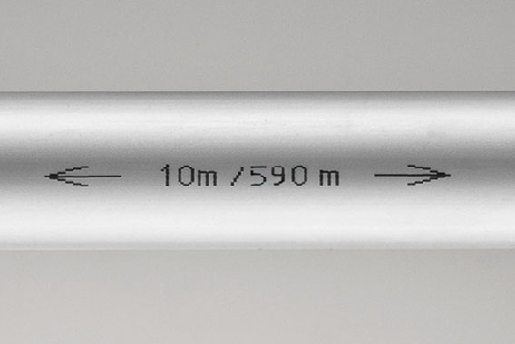 Kermi x-net C14: pipe inscription indicates remaining length and pipe length already used