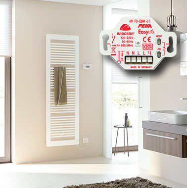 For design and bathroom radiators with all-electric operation or additional electric operation, an actuator can be integrated for all Kermi E-heating rods