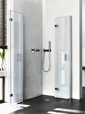 Kermi shower enclosures - Diga - Two part hinged doors with folding mechanism