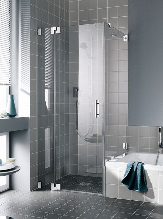 kermi shower enclosure filia two part hinged door with fixed panel and side panel - Dusche Pendeltur Kermi